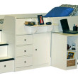 Berg White Captain Bed with Pull-Out Desk
