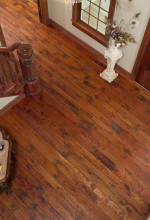 Rehmeyer hand scraped Cherry flooring with antique finish & worn square pegs