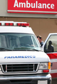 ambulance driver with open door