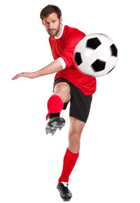 right footed soccer player
