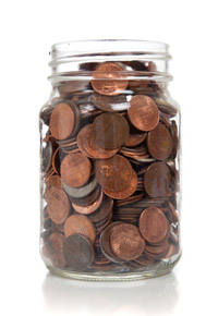 glass jar of pennies
