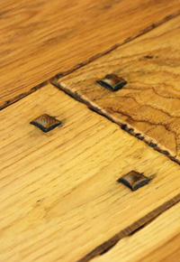 Rehmeyer's Authentic Hand Scraped Hickory hardwood flooring with wood pegs