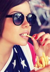 french fries eating