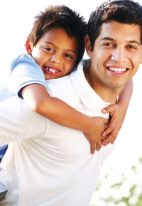 content father with young boy