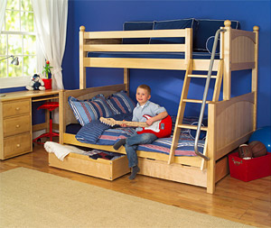 maxtrix bunkbed twin over full with underbed storage