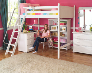 Maxtrix loft bed for girls with desk and bookshelf