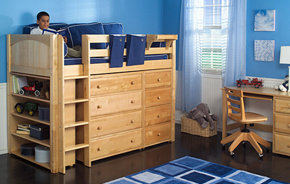 Boys Midloft Storage Bed With Drawers By Maxtrix