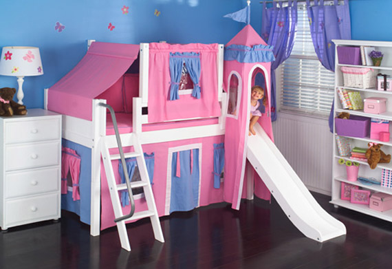 girls low loft bed with playhouse tent