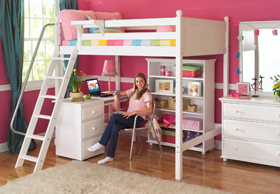 high loft maxtrix bed with desk bookshelf underneath