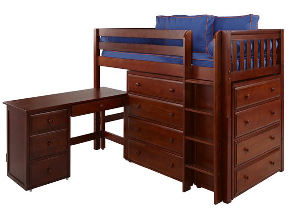 maxtrix loft bed with dressers and desk