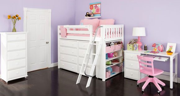 maxtrix white storage loft bed for girls
