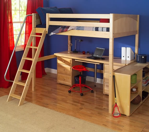 high loft bed by maxtrix with desk below