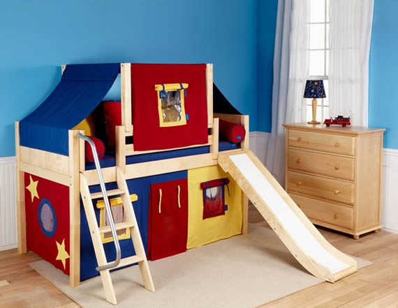low loft bed for kids with play tent curtains maxtrix