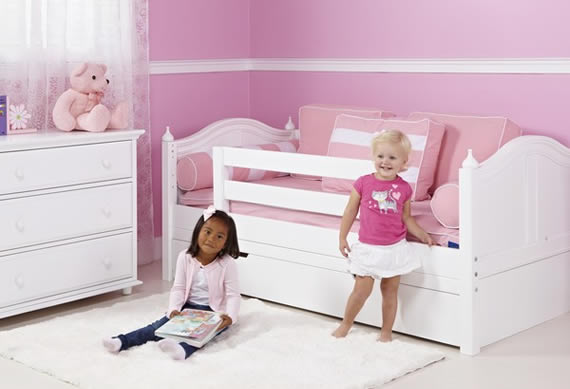 Preschool Girls Playing Beside Maxtrix Toddler Bed