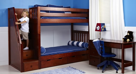 maxtrix chestnut bunk bed with drawer stairs underbed storage