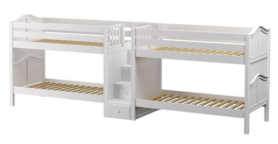maxtrix double white wood bunk beds connected