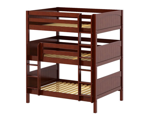 triple bunk bed chestnut wood by maxtrix