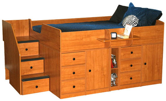 Berg Furniture: Full Captains Bed with Storage. Nutmeg finish with black knobs.