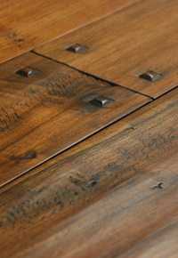 Rehmeyer hand scraped Walnut wide plank flooring with wooden pegs