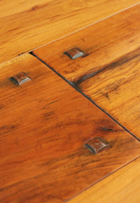 Authentic Hand Scraped Cherry Hardwood Floor with Wood Pegs