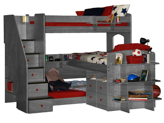 Triple Bunk Bed with Stairs & Storage