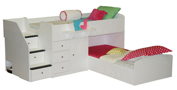 Captain's Bed for Two with Stairs & Storage