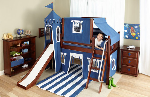 low loft castle bed with slide blue