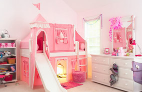 pink princess castle bed with slide and tower