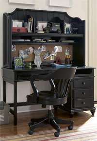 black and white collection black student desk with hutch