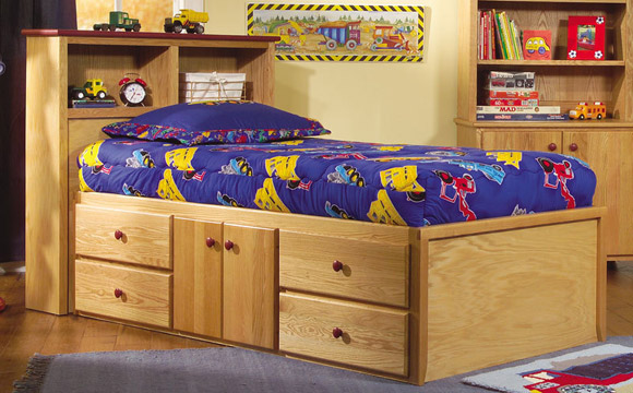 four drawer two door storage bed