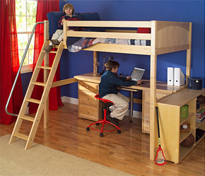 maxtrix boys loft bed with slanted ladder desk