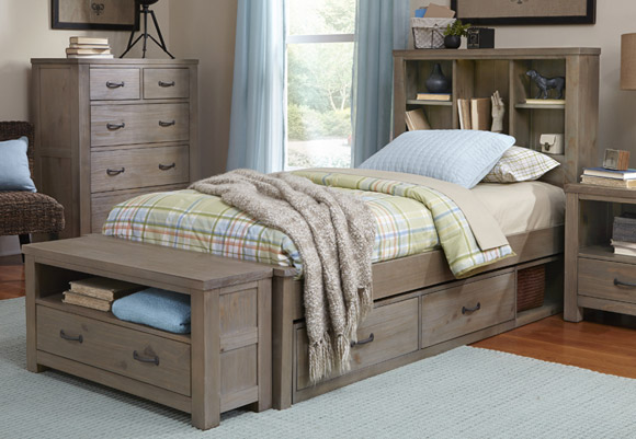 Seaview Bookcase Bed in Driftwood (Twin)