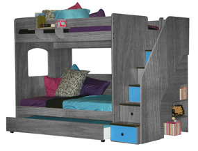 Berg bunk bed in pewter color with trundle