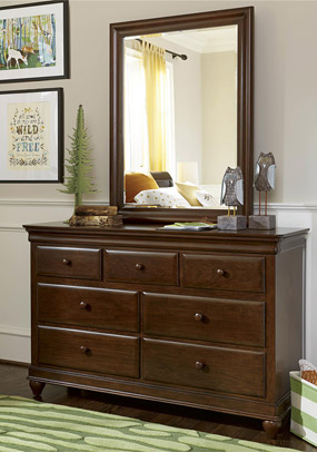 Classics 4.0 Cherry Drawer Dresser (shown with optional Mirror)