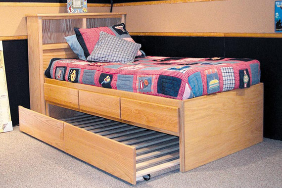 3 Drawer Storage Bed with Slatted Trundle