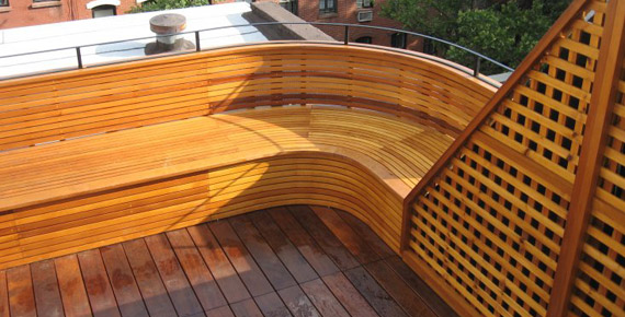 Ipe curved bench and deck
