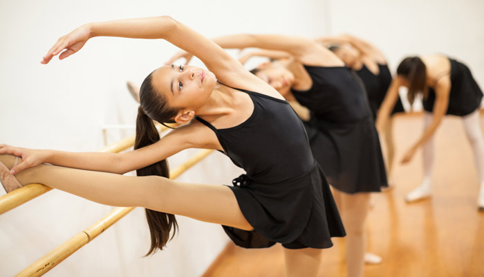 ballet dance students practicing