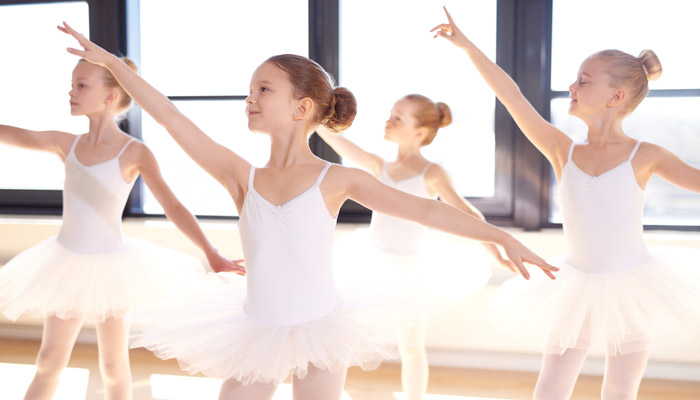young ballet dancers practicing