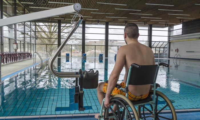 young disabled man wants to go swimming