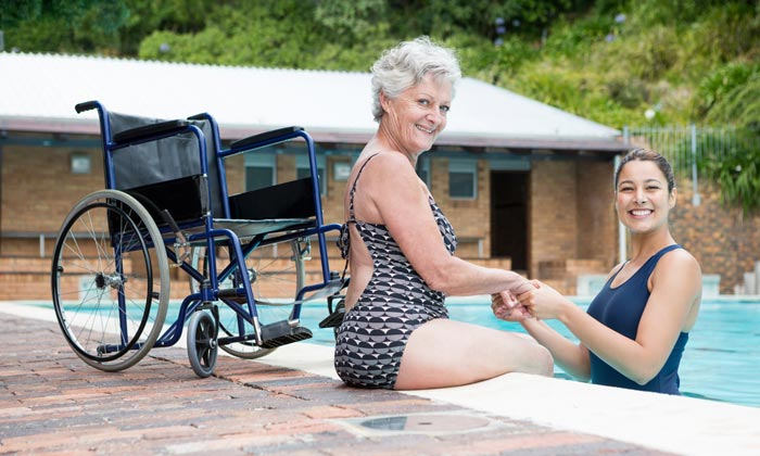 elderly disabled woman desires to go into pool