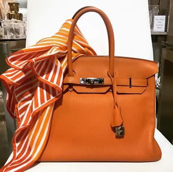 hermes birkin orange handbag