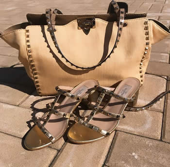valentino bag and rockstud sandals