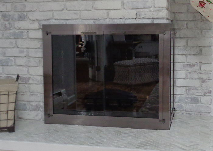 Corner Fireplace Doors in Gun Metal