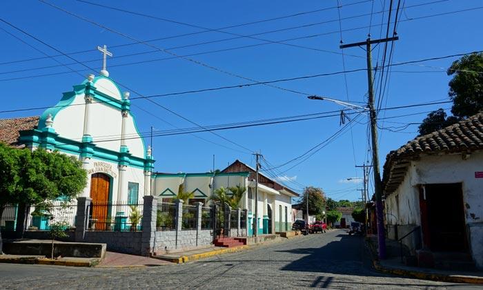 street with church in masaya nicaragua