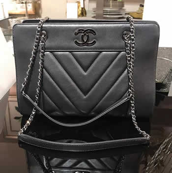 chanel gray lambskin chevron small tote bag
