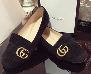 gucci black suede marmont flat loafers