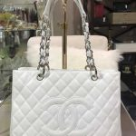 chanel white grand shopper with silver hardware