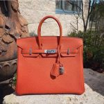hermes birkin feu color togo leather handbag
