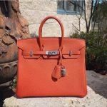 hermes birkin feu color togo leather handbag
