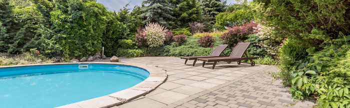 serene backyard with swimming pool